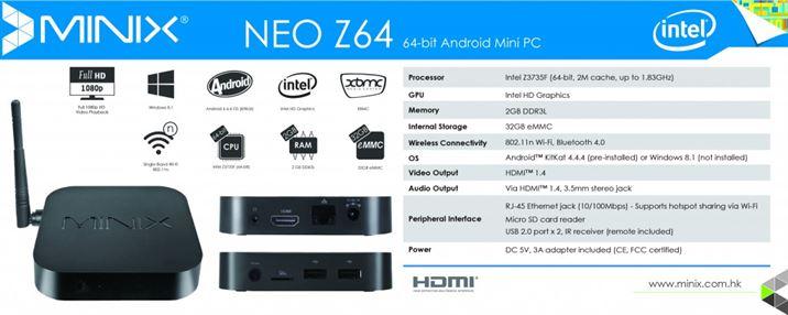 NEO Z64 - Spec Sheet